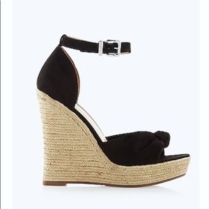 EXPRESS Knotted Espadrille Wedge Sandals — Black